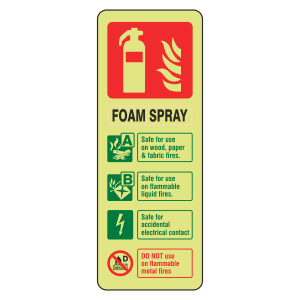 Photoluminescent Electrical Safe Foam Spray Fire Extinguisher ID Sign (Portrait)