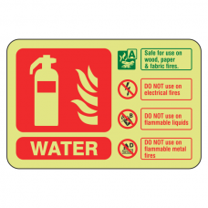 Photoluminescent Water Fire Extinguisher ID Sign (Landscape)