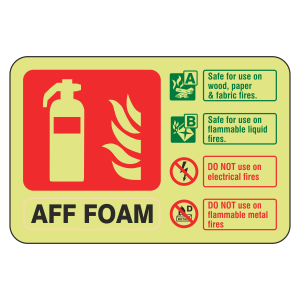 Photoluminescent AFF Foam Fire Extinguisher ID Sign (Landscape)