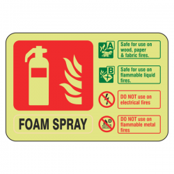 Photoluminescent  Foam Spray Fire Extinguisher ID Sign (Landscape)