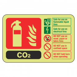 Photoluminescent  CO2 Fire Extinguisher ID Sign (Landscape)