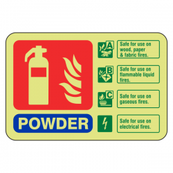 Photoluminescent Powder Fire Extinguisher ID Sign (Landscape)
