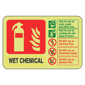 Photoluminescent Wet Chemical Fire Extinguisher ID Sign (Landscape)