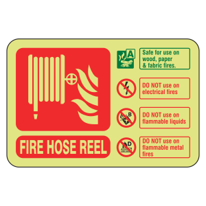 Photoluminescent Fire Hose Reel Fire Extinguisher ID Sign (Landscape)