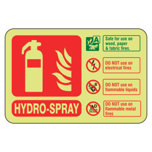 Photoluminescent Hydro-Spray Fire Extinguisher ID Sign (Landscape)