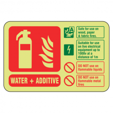 Photoluminescent Water + Additive Fire Extinguisher ID Sign (Landscape)
