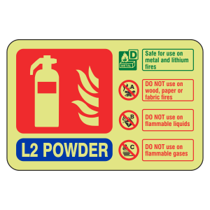 Photoluminescent L2 Powder Fire Extinguisher ID Sign (Landscape)