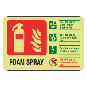 Photoluminescent Electrical Safe Foam Spray Fire Extinguisher ID Sign (Landscape)