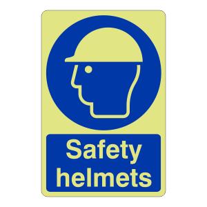 Photoluminescent Safety Helmets Sign