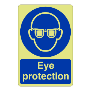 Photoluminescent Eye Protection Sign