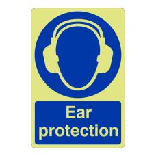 Photoluminescent Ear Protection Sign