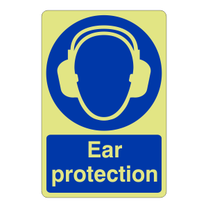 Photoluminescent Ear Protection Sign