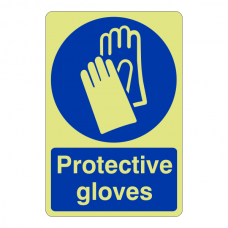 Photoluminescent Protective Gloves Sign