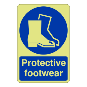 Photoluminescent Protective Footwear Sign