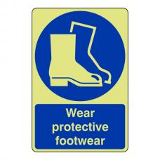 Photoluminescent Wear Protective Footwear Sign