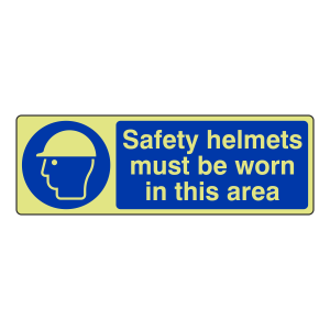 Photoluminescent Safety Helmets Must Be Worn Sign (Landscape)