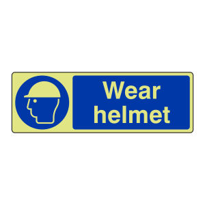 Photoluminescent Wear Helmet Sign (Landscape)