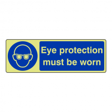 Photoluminescent Eye Protection Must be Worn Sign (Landscape)