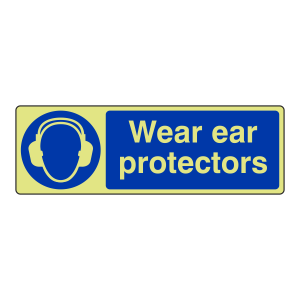 Photoluminescent Wear Ear Protectors Sign (Landscape)