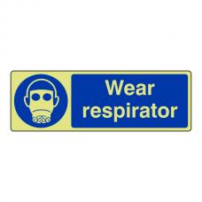 Photoluminescent Wear Respirator Sign (Landscape)