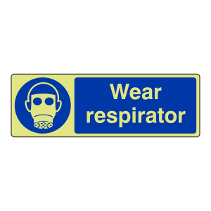 Photoluminescent Wear Respirator Sign (Landscape)