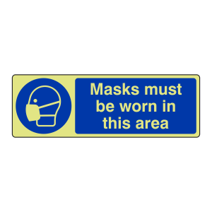 Photoluminescent Masks Must Be Worn Sign (Landscape)