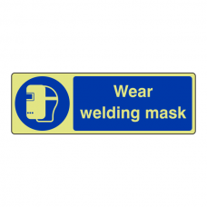 Photoluminescent Wear Welding Mask Sign (Landscape)