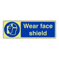 Photoluminescent Wear Face Shield Sign (Landscape)