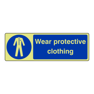 Photoluminescent Wear Protective Clothing Sign (Landscape)
