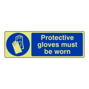 Photoluminescent Protective Gloves Must Be Worn Sign (Landscape)
