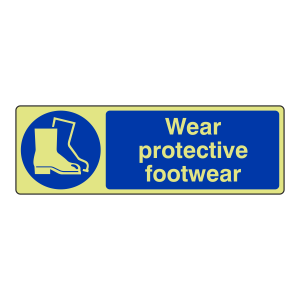 Photoluminescent Wear Protective Footwear Sign (Landscape)