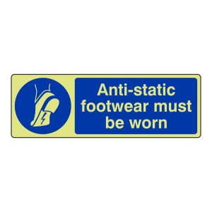 Photoluminescent Anti-Static Footwear Must Be Worn Sign (Landscape)