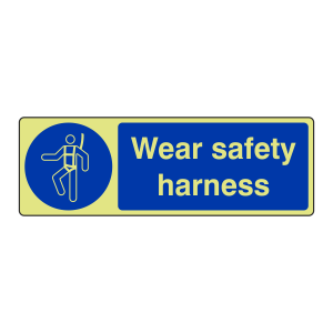 Photoluminescent Wear Safety Harness Sign (Landscape)