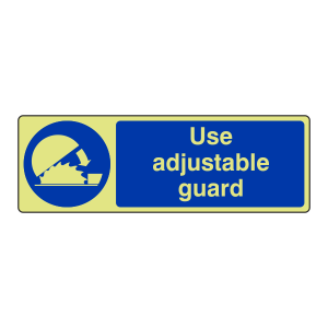 Photoluminescent Use Adjustable Guard Sign (Landscape)