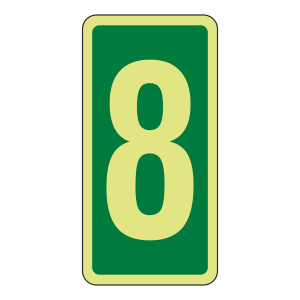 Photoluminescent Green Marker Number 8 Sign