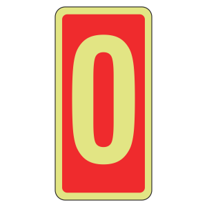 Photoluminescent Marker Number 0 Sign (red)