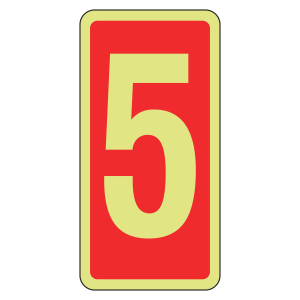 Photoluminescent Marker Number 5 Sign (red)