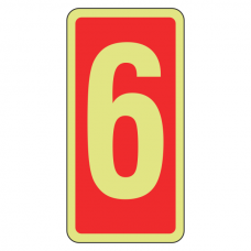 Photoluminescent Marker Number 6 Sign (red)
