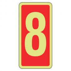 Photoluminescent Marker Number 8 Sign (red)