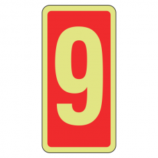 Photoluminescent Marker Number 9 Sign (red)