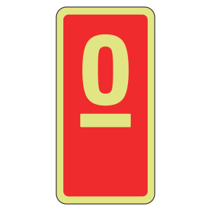 Photoluminescent Marker Number Sign (red)