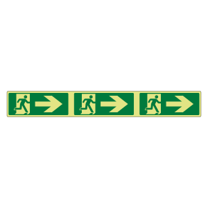 Photoluminescent Fire Exit Arrow Right Marking Strip Sign