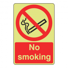 Photoluminescent No Smoking Sign