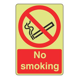Photoluminescent No Smoking Sign