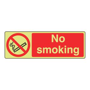 Photoluminescent No Smoking Sign (Landscape)