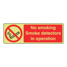 Photoluminescent No Smoking Smoke Detectors Sign (Landscape)