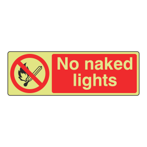 Photoluminescent No Naked Lights Sign (Landscape)
