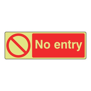 Photoluminescent No Entry Sign (Landscape)