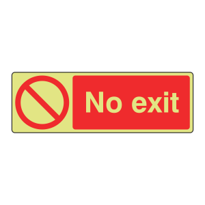Photoluminescent No Exit Sign (Landscape)