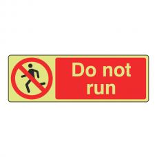 Photoluminescent Do Not Run Sign (Landscape)